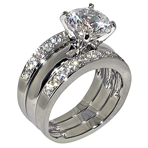Review 3.47 Ct. Round-shape Cubic Zirconia Cz Solitaire Bridal Engagement Wedding 3 Piece Ring Set (Center Stone Is 2.75 Cts)
