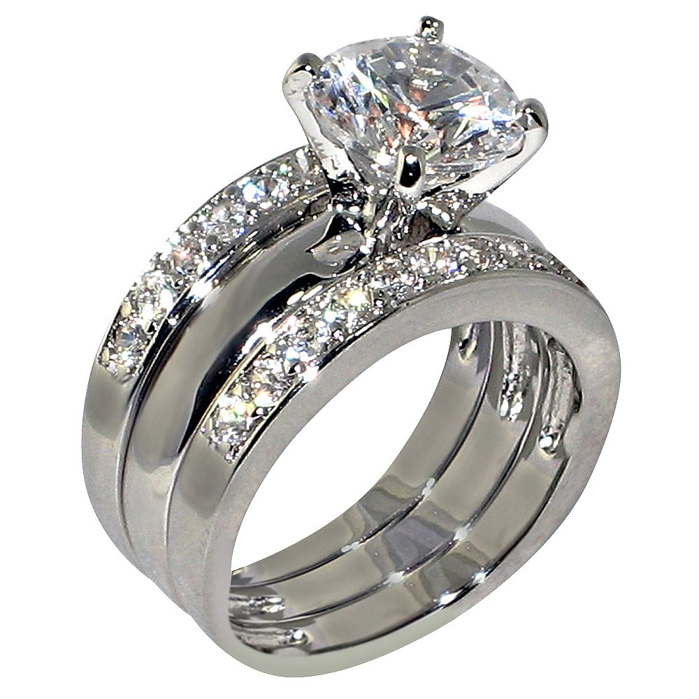 3.47 Ct. Round-shape Cubic Zirconia Cz Solitaire Bridal Engagement Wedding 3 Piece Ring Set (Center Stone Is 2.75 Cts)Size 7.5