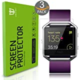 Fitbit Blaze Screen Protector [Full coverage], DEGBIT® [3-Pack] Fitbit Blaze Tempered Glass Screen Protector [0.26mm 2.5D, 9H Hardness] Ultra Clear /Anti-Scratch/Bubble-Free Shield-Lifetime Warranty