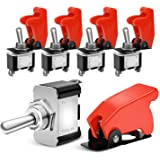 Nilight 90014E Heavy Duty Rocker Toggle Switch 12V 20A Red Cover SPST ON/Off 2Pin Car Truck Boat-5 Pack, 2 Years Warranty