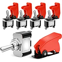 Nilight 90014E Heavy Duty Rocker Toggle Switch 12V 20A Red Cover SPST ON/Off 2Pin Car Truck Boat-5 Pack, 2 Years…