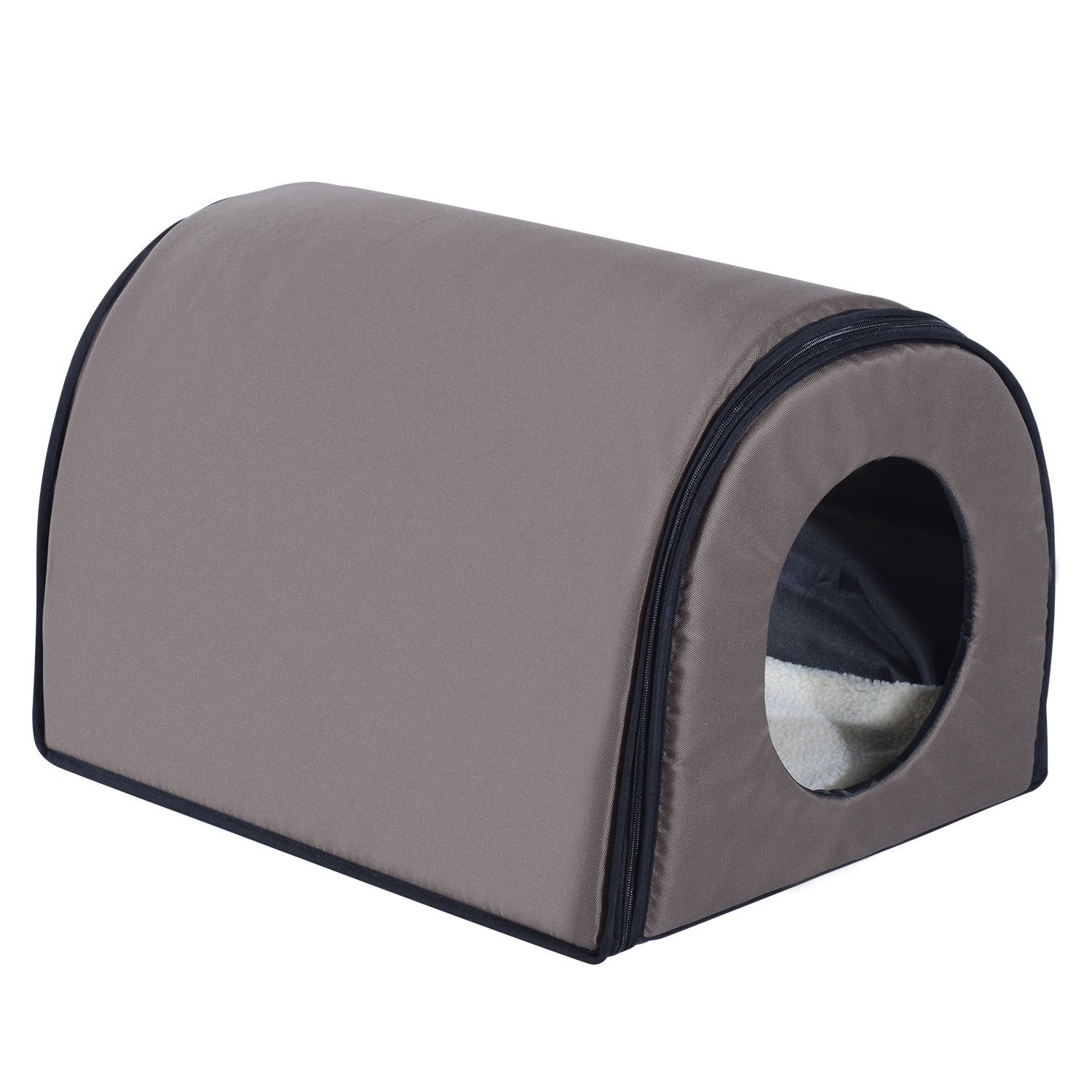 Pawhut Heated Outdoor Cat Shelter - Brown (Single, Brown) by PawHut