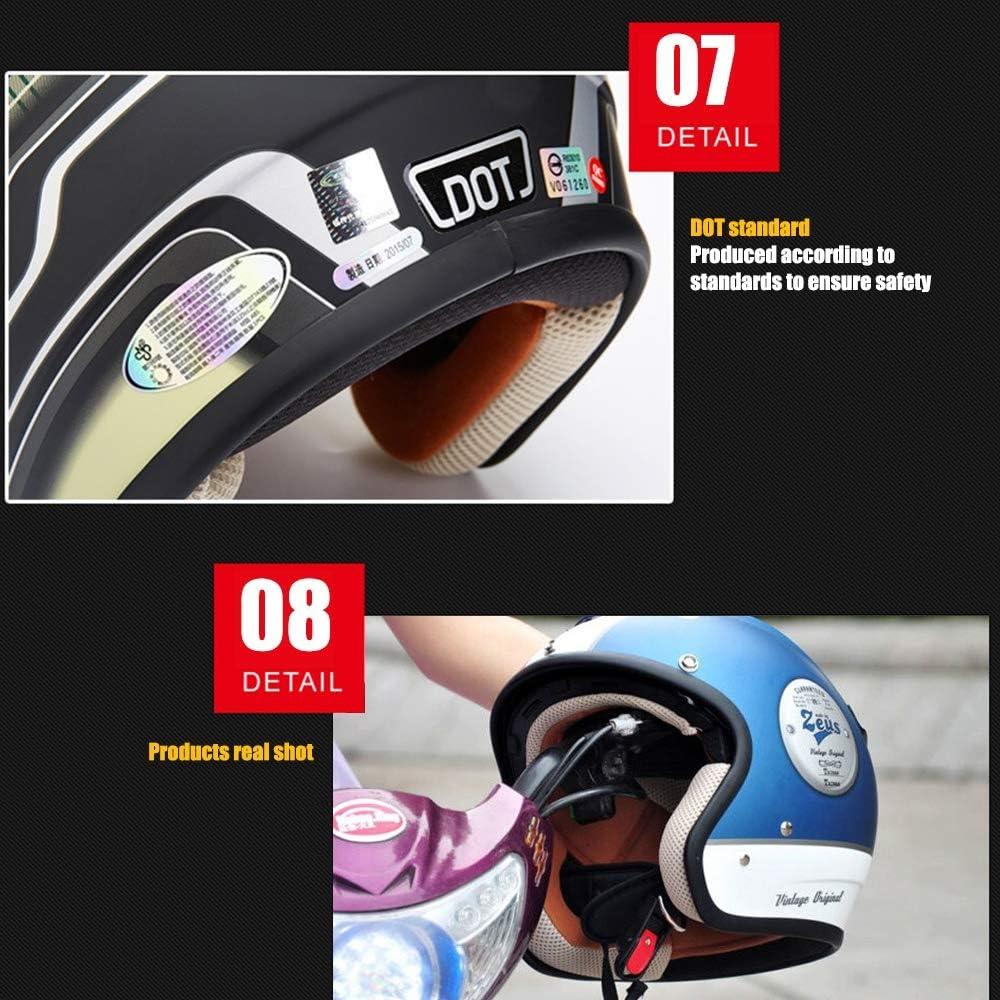 Harley Motorradhelm f/ür Erwachsene Blau Wei/ß Offener Helm 3//4 Cruiser Harley Pilotenhelm DOT-zertifiziert Retro-Sonnenblende Integriertes Objektiv Reisehelm Abnehmbares Innenfutter Motorradhalbhelm,M