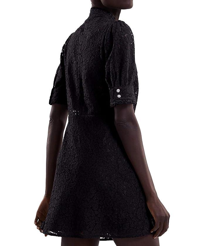 3bb9ccd8 Zara Women's Lace Dress with Rhinestone Buttons 4786/061 Black:  Amazon.co.uk: Clothing
