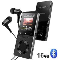 AGPTEK HiFi Bluetooth 4.0 16GB MP3 Player, Lossless Sound MP3 Player unterstützt 128GB Micro SD Speicherkarte, FM Radio, Aufnahme, M16SB, Schwarz