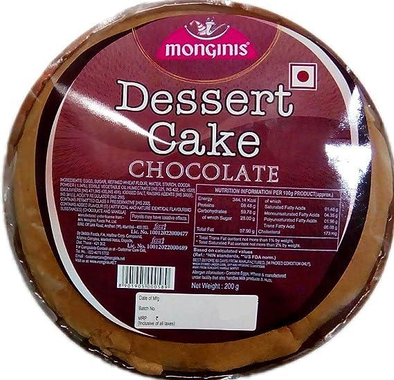 Monginis Dessert Sponge Round Cake Chocolate 200g Pack Of 2
