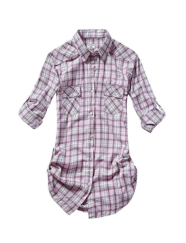 2027 Checks 1 Match Women's Long Sleeve Flannel Plaid Shirt