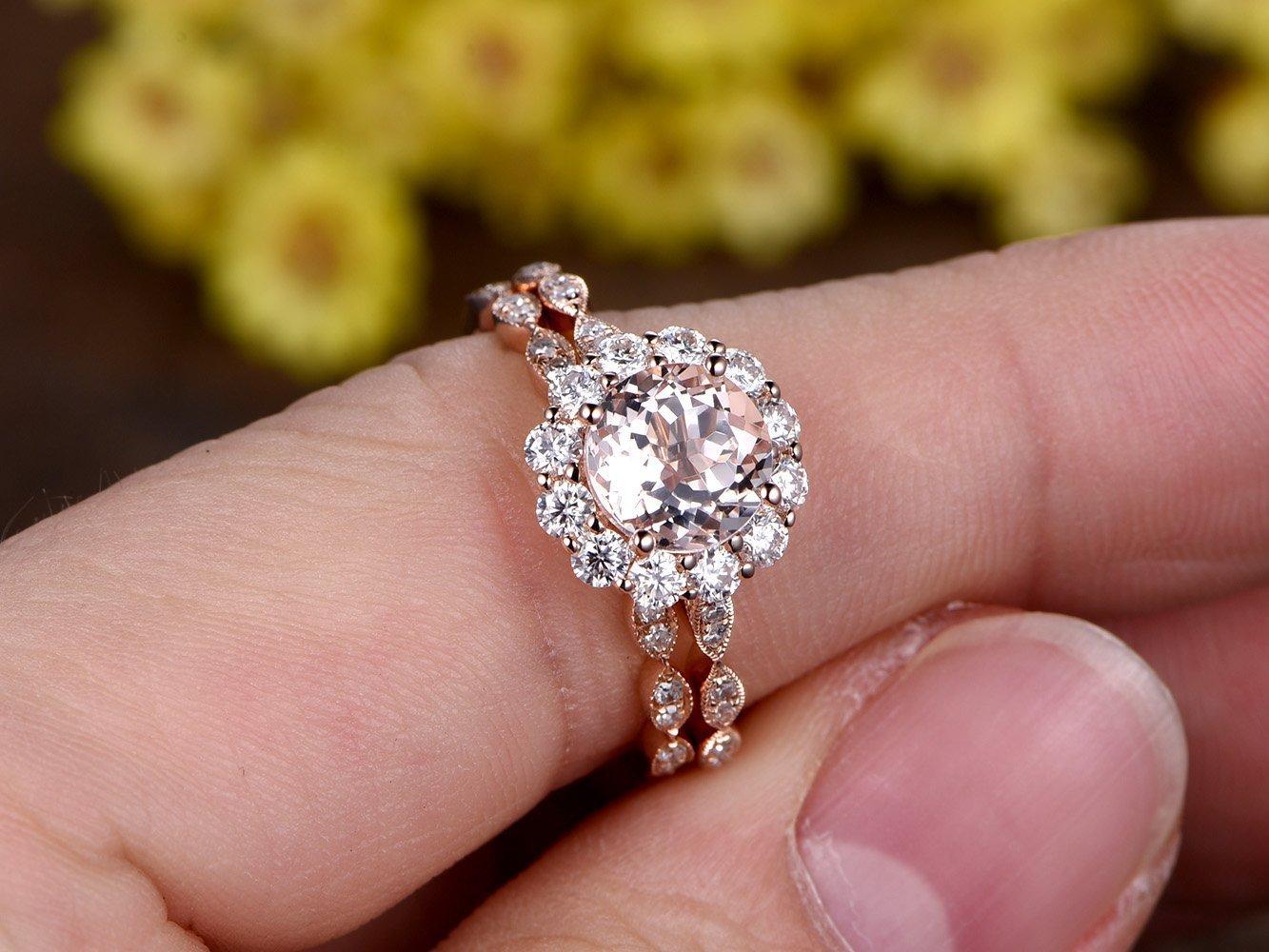 Amazon.com: 2pcs Wedding Ring Set,7mm Round Cut 1.5ctw VS Natural ...