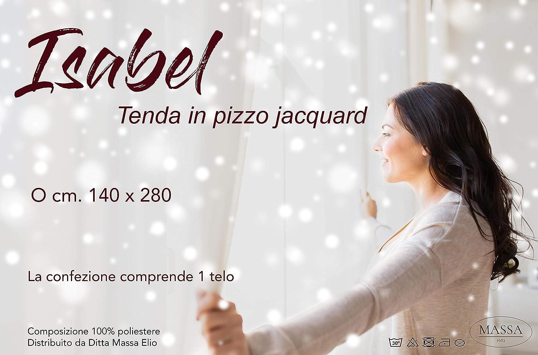 140X280 CONFEZIONATA in Pizzo Jacquard Tenda tendaggio Isabel Bianco cm