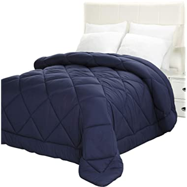 Utopia Bedding Comforter Duvet Insert - Quilted Comforter with Corner Tabs - Plush Siliconized Fiberfill, Box Stitched Down Alternative Comforter, Machine Washable (Navy, King)