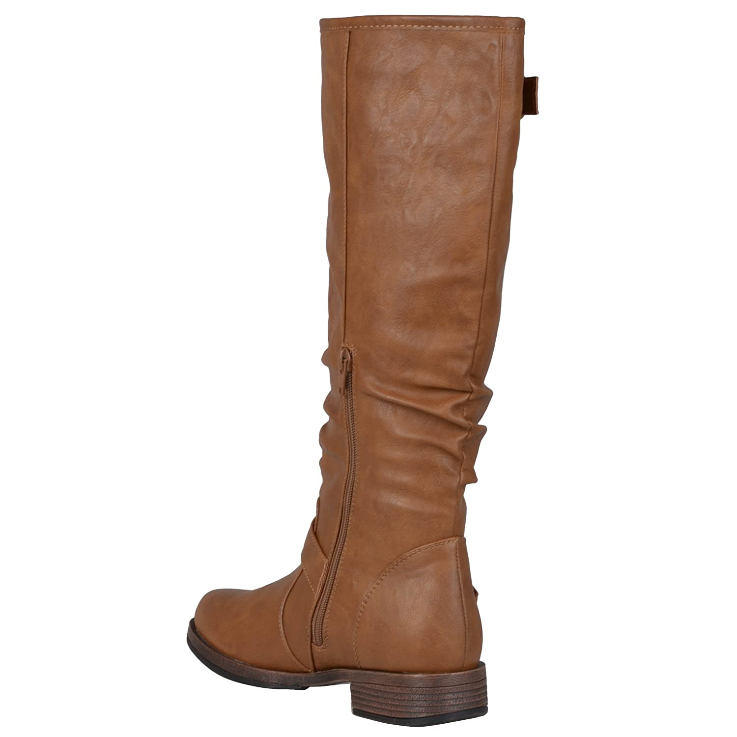 088d5dece3f5a Amazon com Journee Collection Womens Extra Wide Calf Buckle Knee High  Riding Boot Boots