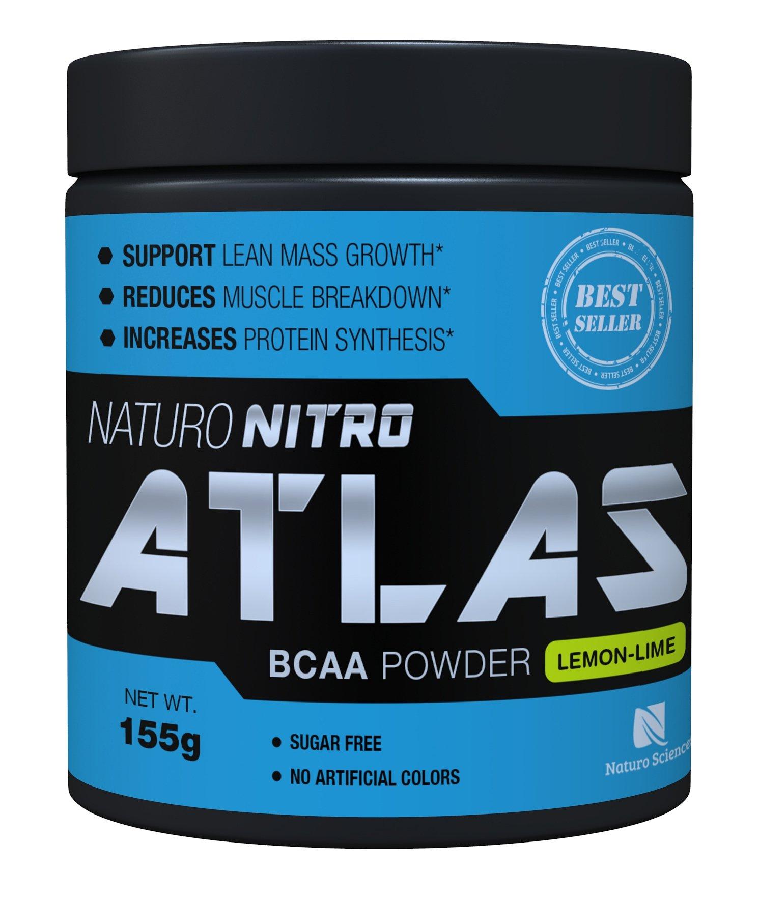 Naturo Nitro Atlas, BCAA Instantized Powder, Best Branched Chain Amino Acids, 28 Servings, 5.5g Per Serving, Lemon Lime Flavor