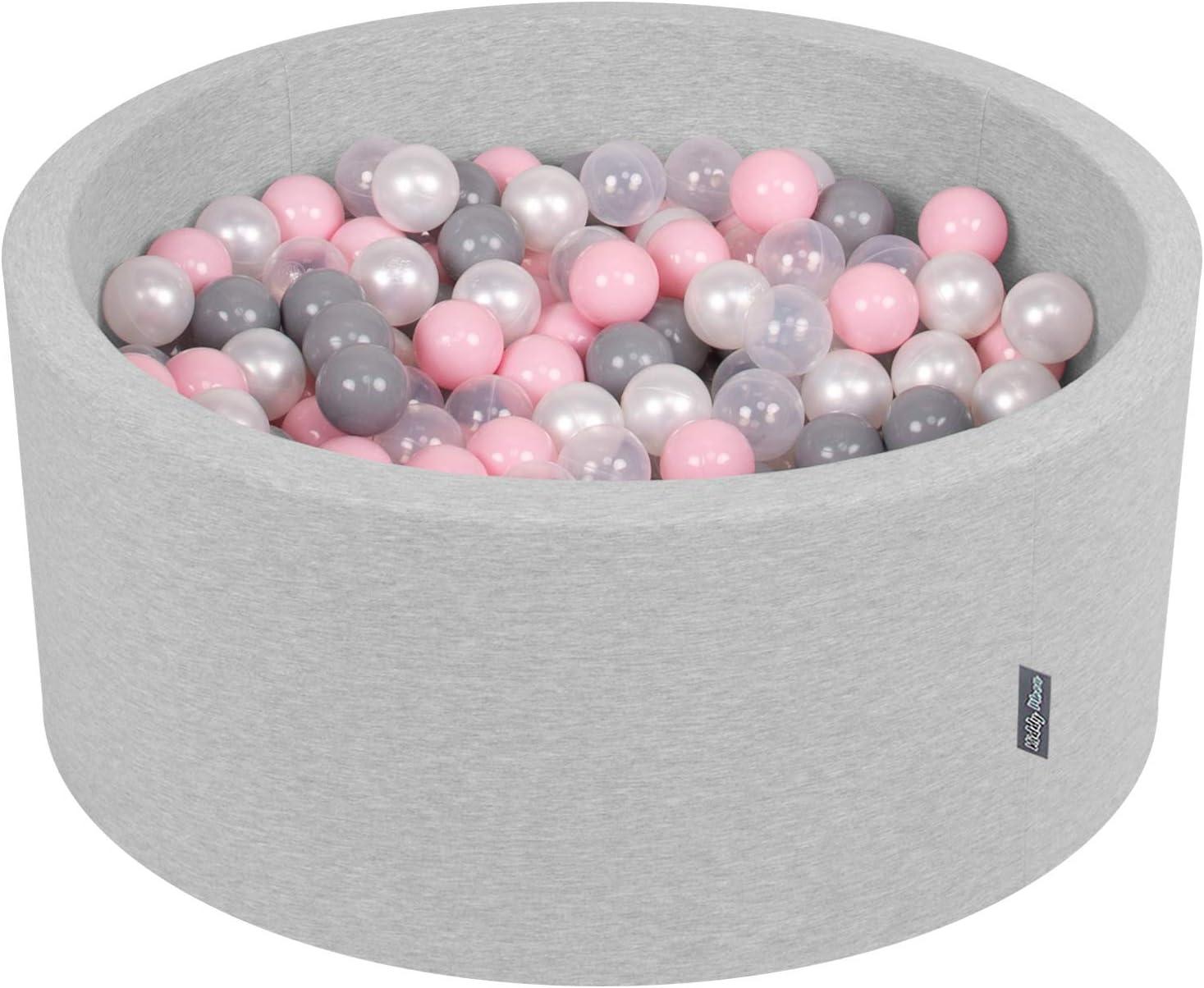 KiddyMoon 90X40cm/300 Bolas ∅ 7Cm Piscina De Bolas para Ninos Hecha En La UE, Gris Clr:Perla/Gris/Transparente/Rosa Clr