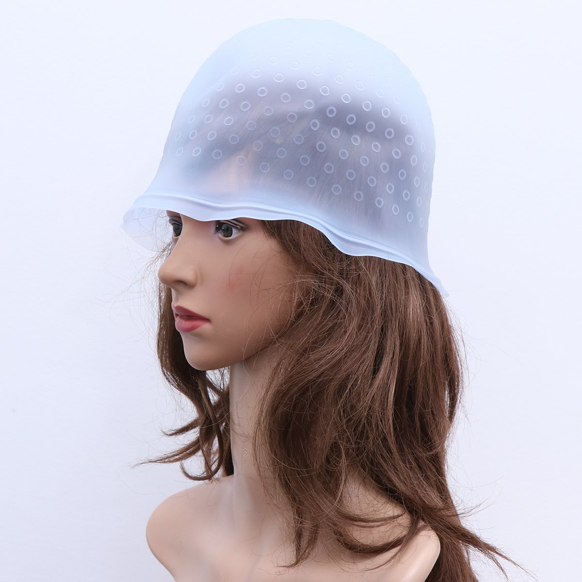 White Healifty Reusable silicone salon hair cap with hook needle elastic highlighting dye cap hair color styling tools