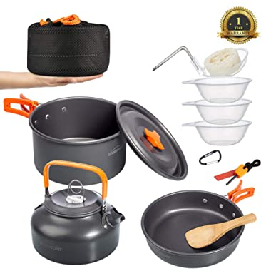 Overmont Camping Cookware Set Campfire Kettle Outdoor Cooking Mess Kit Pots Pan for Backpacking Hiking Picnic Fishing