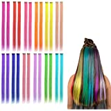 Kyerivs - Extensiones de pelo con clip de colores, 55,88 cm, resistente al calor, recto, resaltado de pelo, cospaly, fiesta de moda, para niños y niñas, 12 colores en 24 piezas
