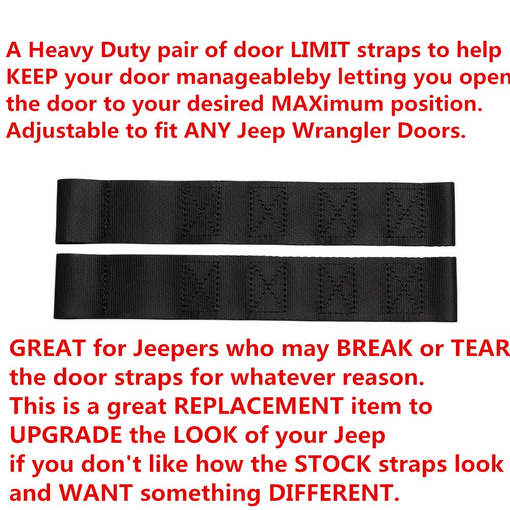 DUAL Heavy Duty Strong Adjustable Door Limiting Check Strap Perfect for JEEP Wrangler Black Pack of 2 2PCS-Black