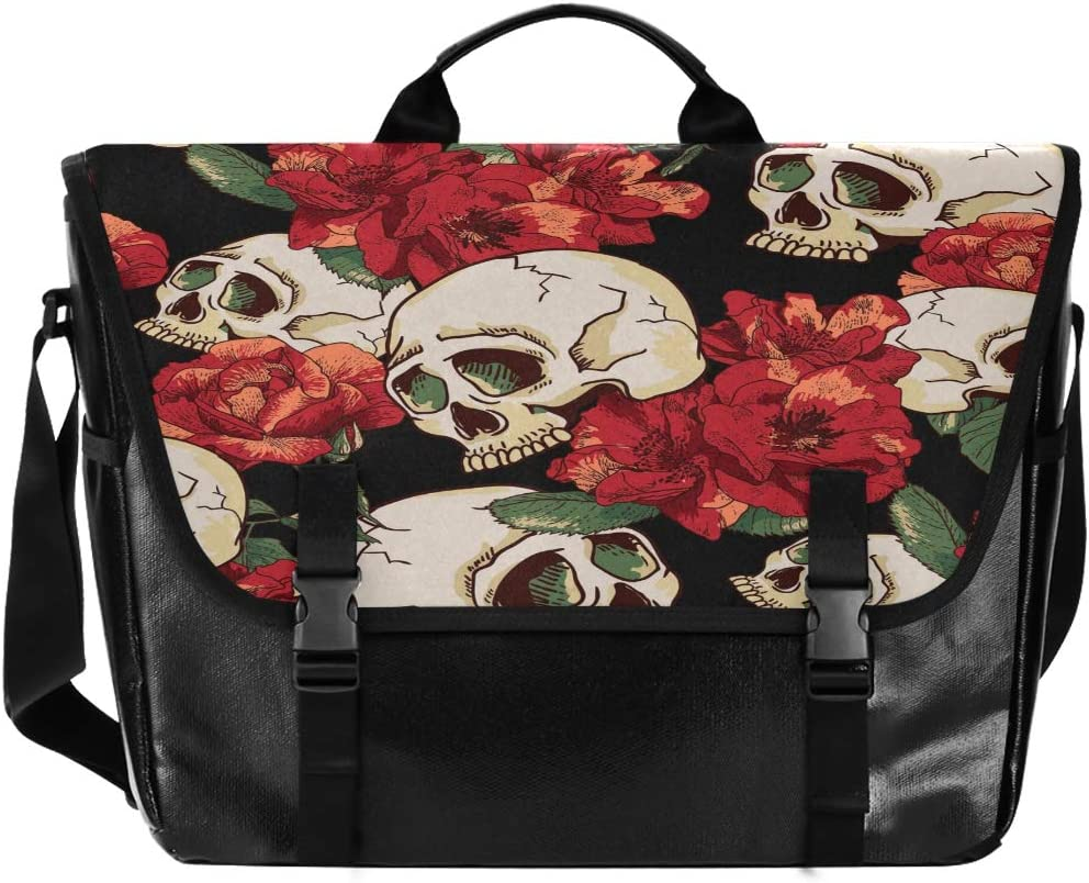 ALAZA Messenger Bag 15.6 Inch, Sugar Skull and Red Poppy Flowers Laptop Briefcase Waterproof Satchel Bag Crossbody for Work Traveling Camping