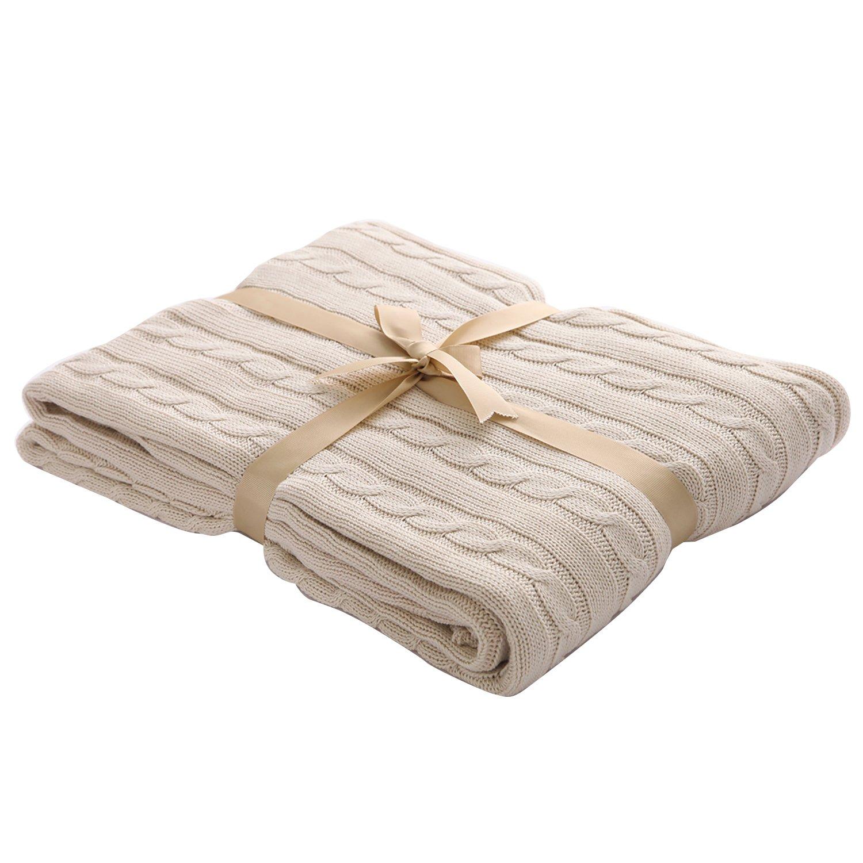 U'Artlines Warm 100% Cotton Soft Cute Throw Blanket for Children Afternoon Nap Cart blanket (Cream, 47x 71)