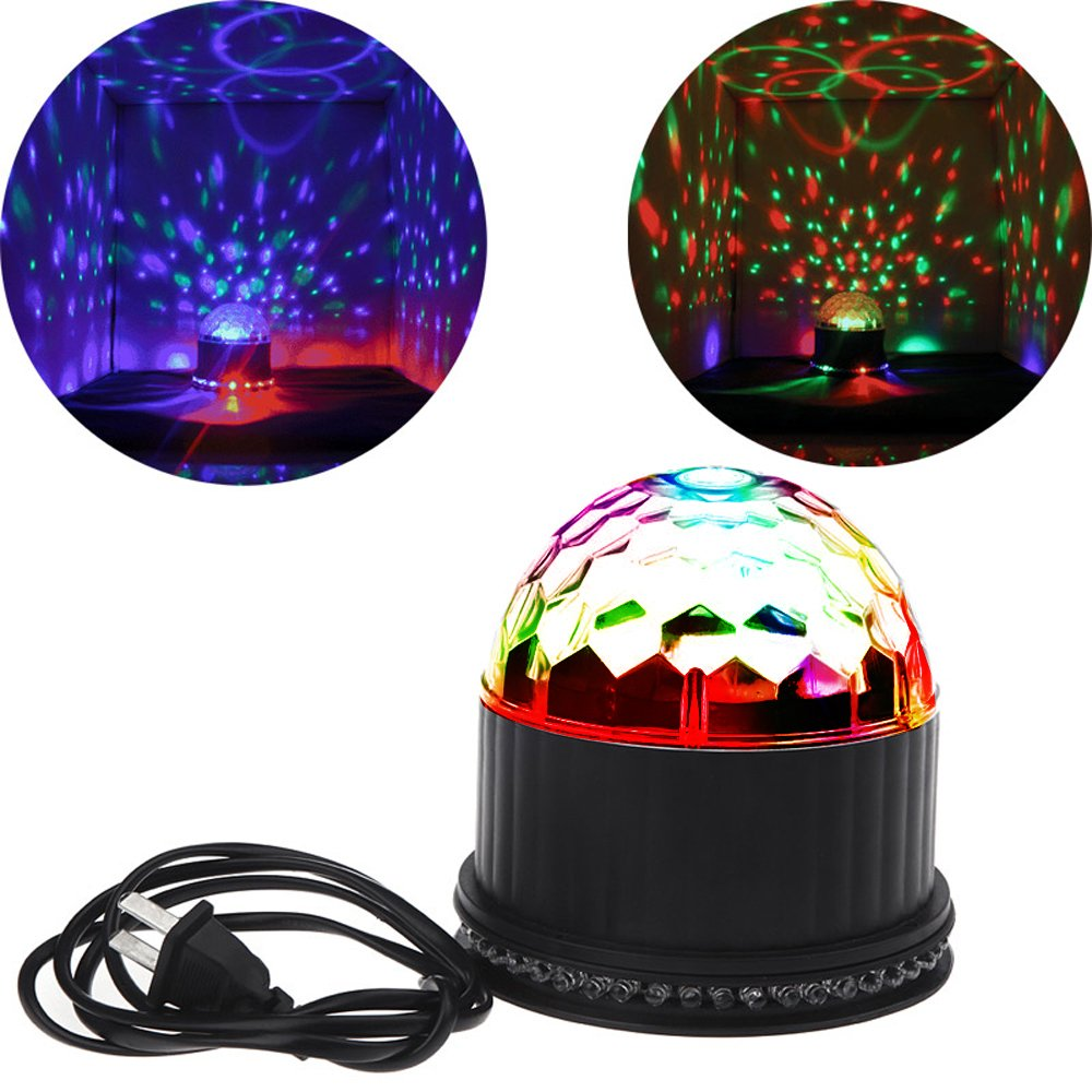 Party Lights, 2-IN-1 Sumger 7 Color Changing 3W RGB Proffessional Evening Party Stage Lighting Sound-activated Rotating Lamp LED RGB Sunflower Crystal Magic Rotating Ball Light Strobe Effect Disco DJ