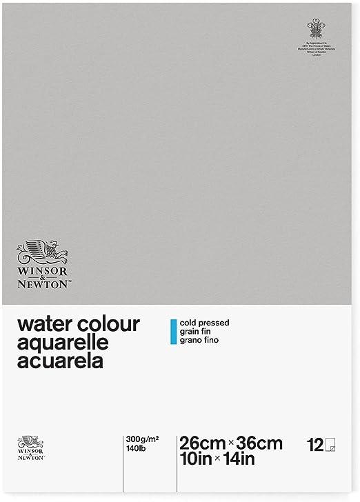 Winsor & Newton Papel para Acuarela, algodón, 12 Hojas, 300 g/m2 ...