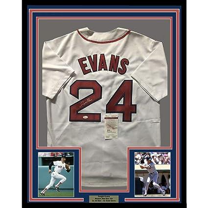 30ab68c5e Framed Autographed/Signed Dwight Evans 33x42 Boston White Baseball Jersey  JSA COA