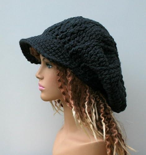 Amazon Handmade Slouchy Newsboy Hat Dark Gray Or Black Visor
