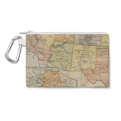 Amazon.com : Vintage South West USA Map Canvas Zip Pouch ...