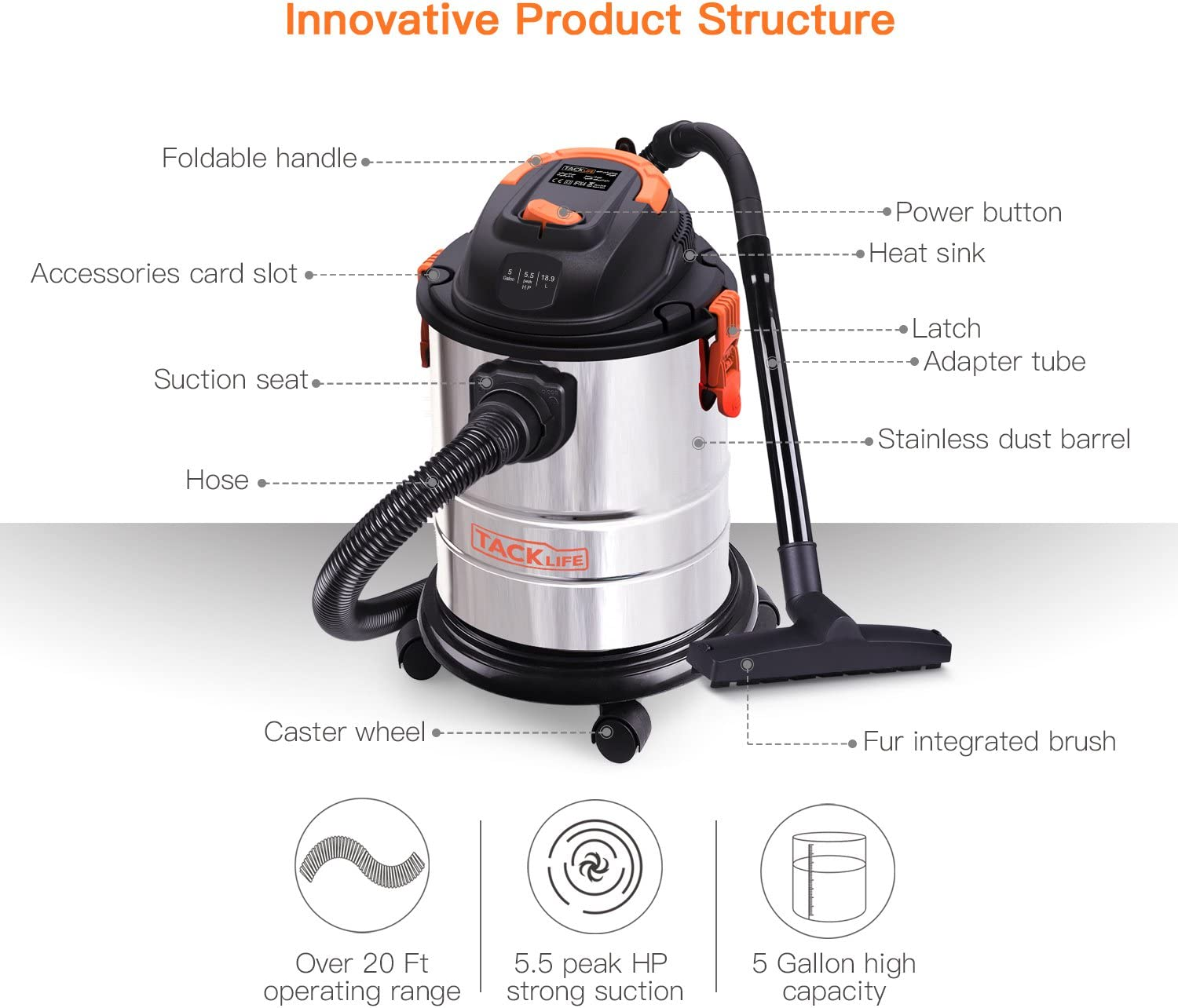 5 Gallon Wet Dry Vacuum with Blowing Function Stainless Steel Container 360 Degrees Swivel Caster Wheels for Houses Garages and Cars Shop Vacuum