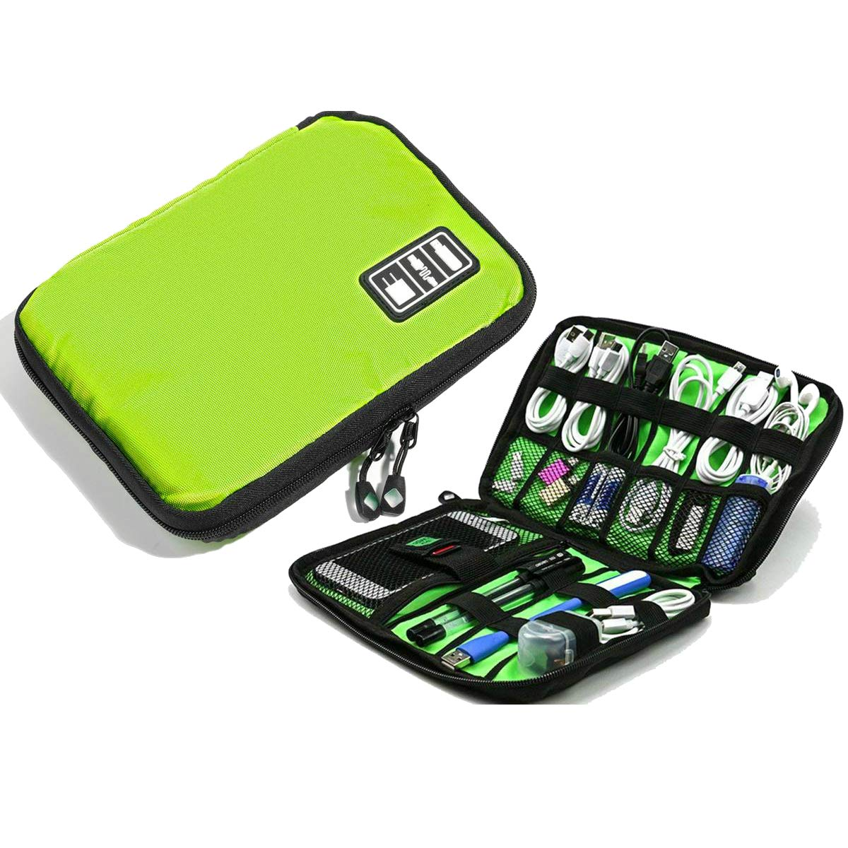 Electronics Accessories Organizer Travel Cord Organizer Bag Universal Case for Cables, Charger, USB Cable, SD Card, Hard Drive, Airpods, iWatch Water-Resistant with Double Zipper (Green)
