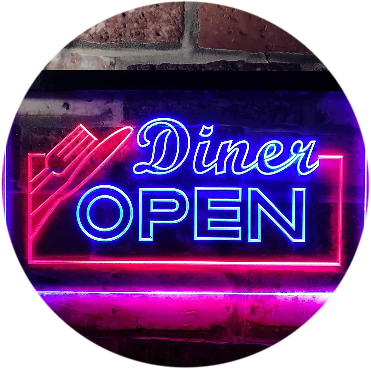 ADV PRO Diner Open Restaurant Café Bar Dual Color LED Enseigne Lumineuse Neon Sign Rouge et Bleu 600 x 400mm st6s64-j0718-rb