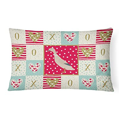 Caroline's Treasures CK5285PW1216 West Harlequin Duck Love Canvas Fabric Decorative Pillow, 12H x16W, Multicolor : Garden & Outdoor