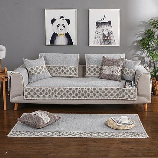 J&DSSUk Fundas de sofá para salón 1 Pieza algodón Lino sofá ...