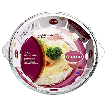 Alorno Borosilicate Glass, Easy Hands, Fluted Pie Dish, 1.7 Ltr Baking Dishes at amazon