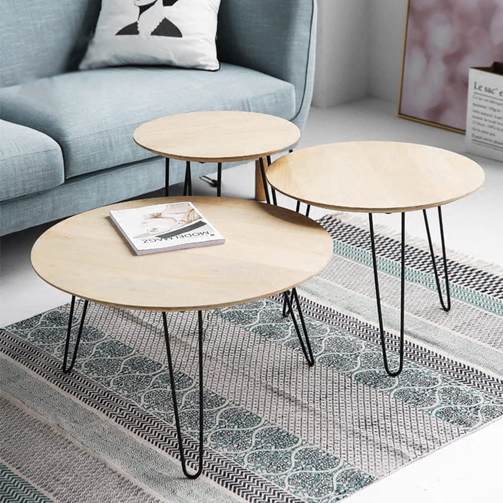 "18/"" 30/"" Metal Coffee Table Hairpin Legs Solid Iron Bar Black Set of 4"