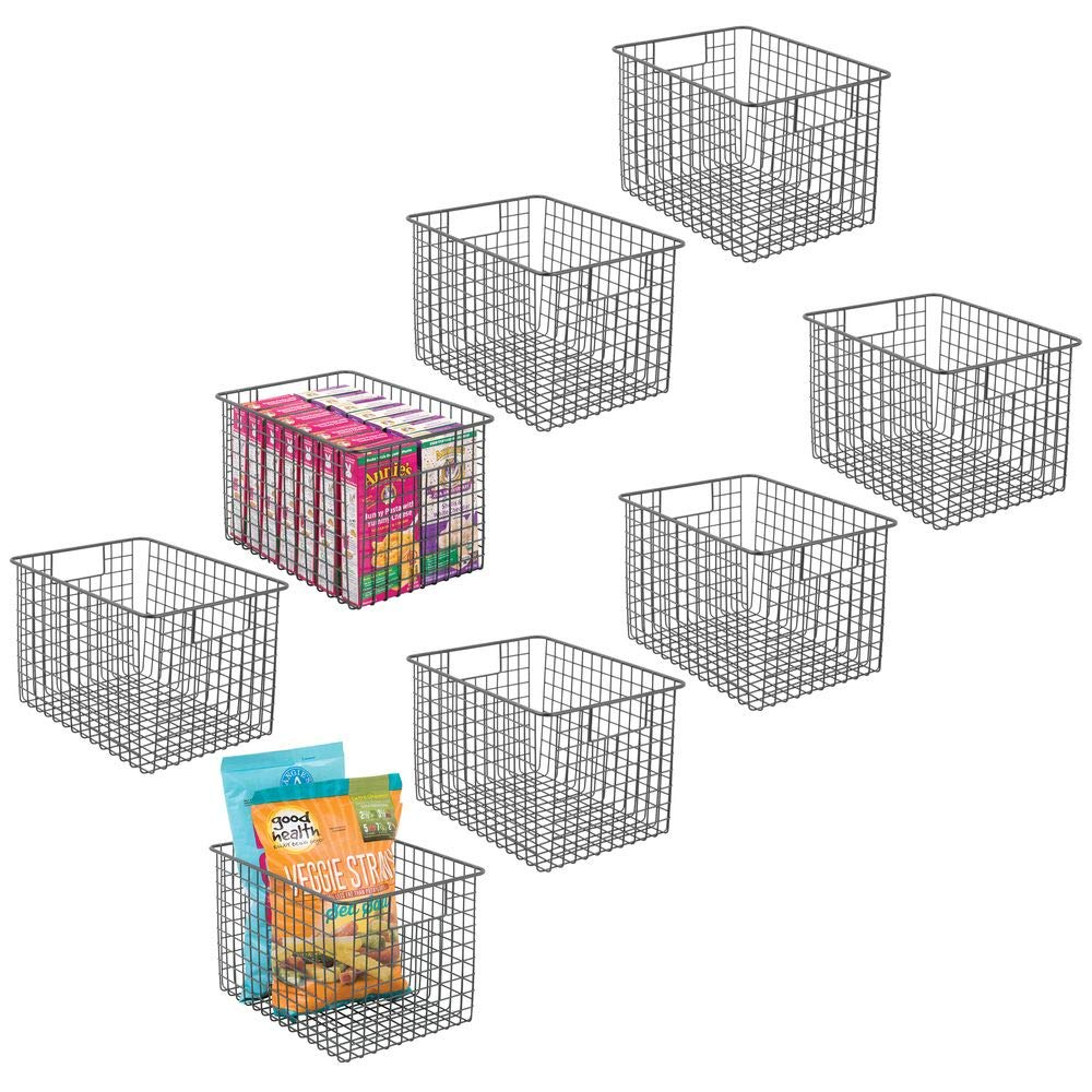 """mDesign Farmhouse Decor Metal Wire Food Storage Organizer, Bin Basket with Handles for Kitchen Cabinets, Pantry, Bathroom, Laundry Room, Closets, Garage - 12"""" x 9"""" x 8"""" - 8 Pack - Graphite Gray"""