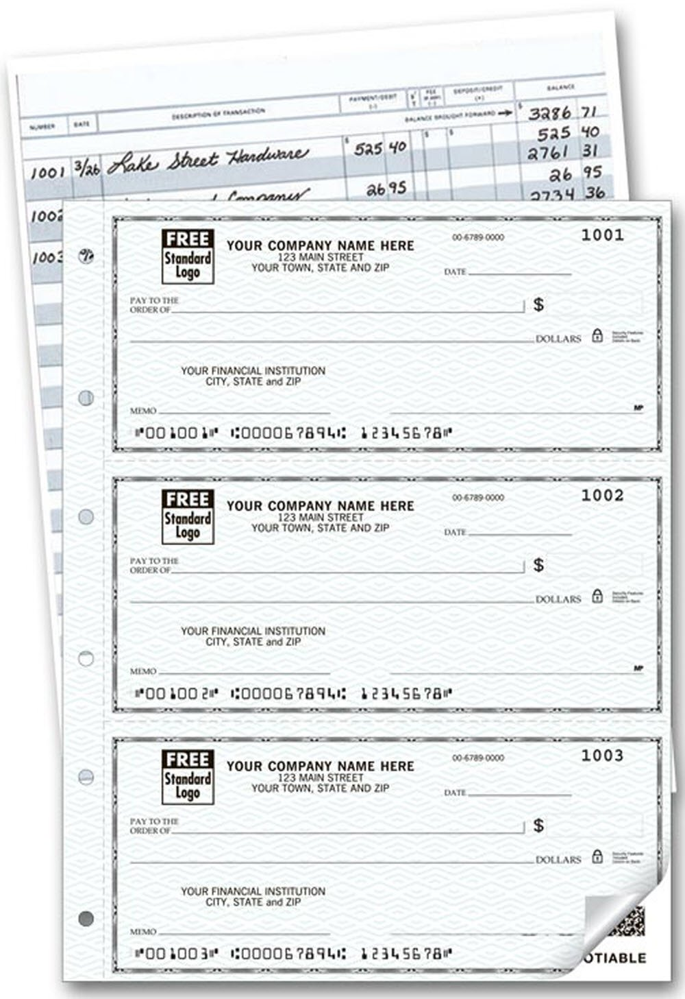 Three to a Page Duplicate Deskbook Checks (Blue Safety)