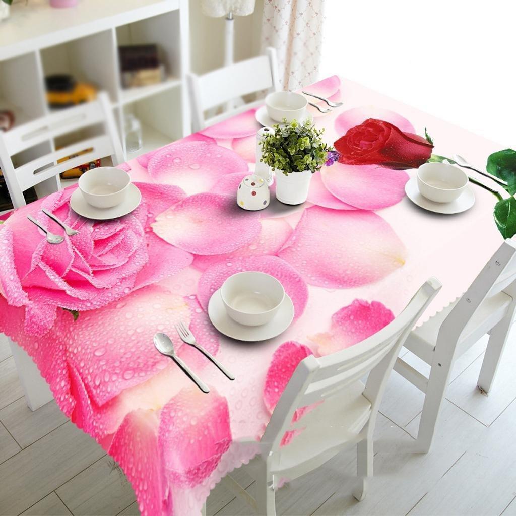 HUANZI 3D Tischtuch Regen Rosa Staub und Umweltschutz, Rectangular Width 152cmx Long 259cm B07L3Y718K TischdeckenGute Qualität | Good Design