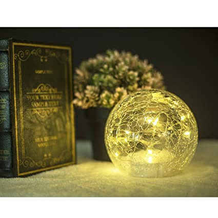 Amazon Glass Ball LED Garden Light Wireless Gazing Ball Simple Decorative Globe Balls