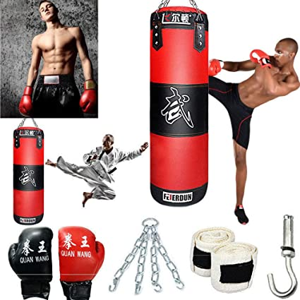 MMA Heavy Boxing Punching Bag Empty Muay Thai Kicking Training Fitness GYM Set