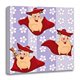 Emvency Canvas Wall Art Print Boar Pink Animal Pigs Red Artful Caricature Cartoon Character Artwork for Home Decor 16 x 16 Inches