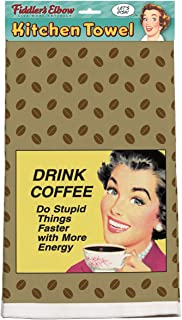 "product image for ""Drink Coffee Do Stupid Things Faster With More Energy"" Retro Kitchen Towel"