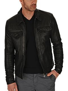 1501225 Laverapelle Mens Genuine Lambskin Leather Jacket Black, Biker Jacket