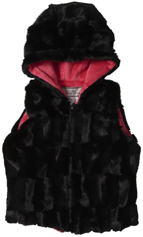 Widgeon Little Girls Hooded Zip Vest Toddler//Kid Black Sheared Milk