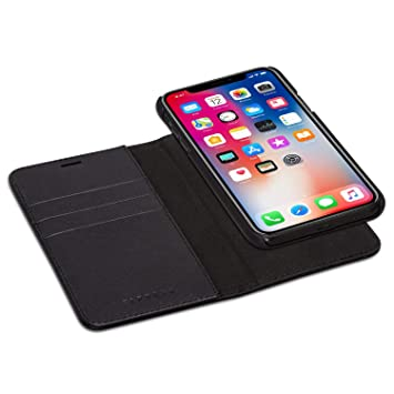 new products 04fbf 573ea iPhone XS Detachable Wallet Case/iPhone X Flip Cover Black - KANVASA  Premium Genuine Leather 2 in 1 Folio Book Magnetic Cover for the Original  Apple ...