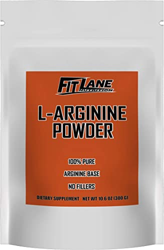 L-Arginine Powder. 5000mg per Serving. Pure Nitric Oxide Supplement by Fit Lane Nutrition 300 Grams 10.5 oz Bag.