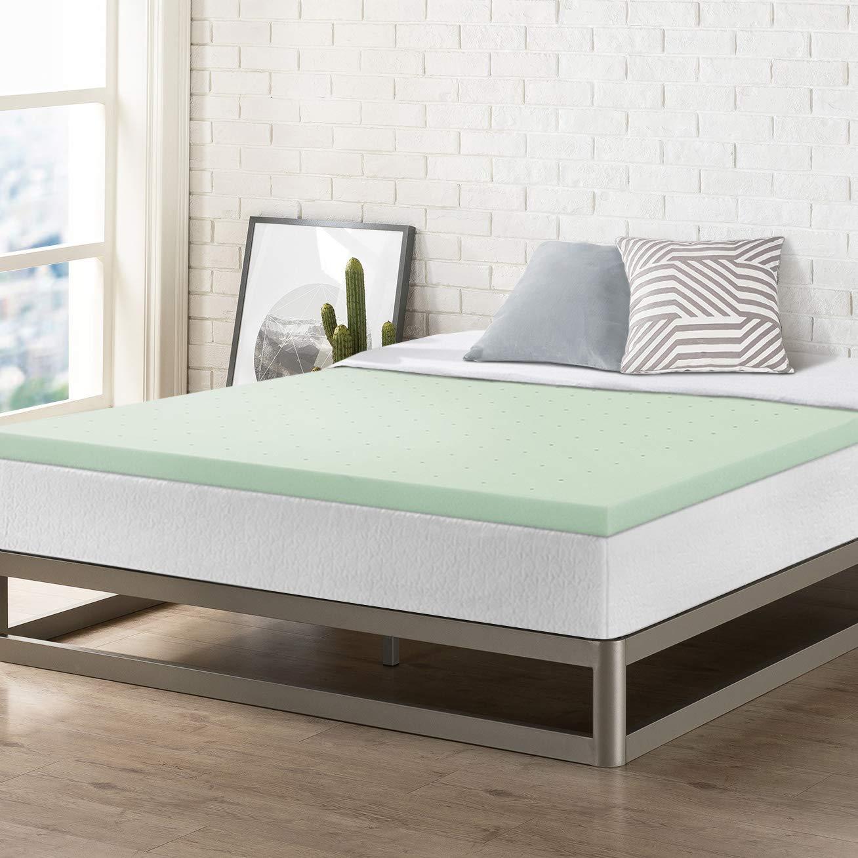 Best Price Mattress Twin TXL Mattress Topper - 2 Inch Memory Foam Bed Topper with Green Tea Cooling Mattress Pad