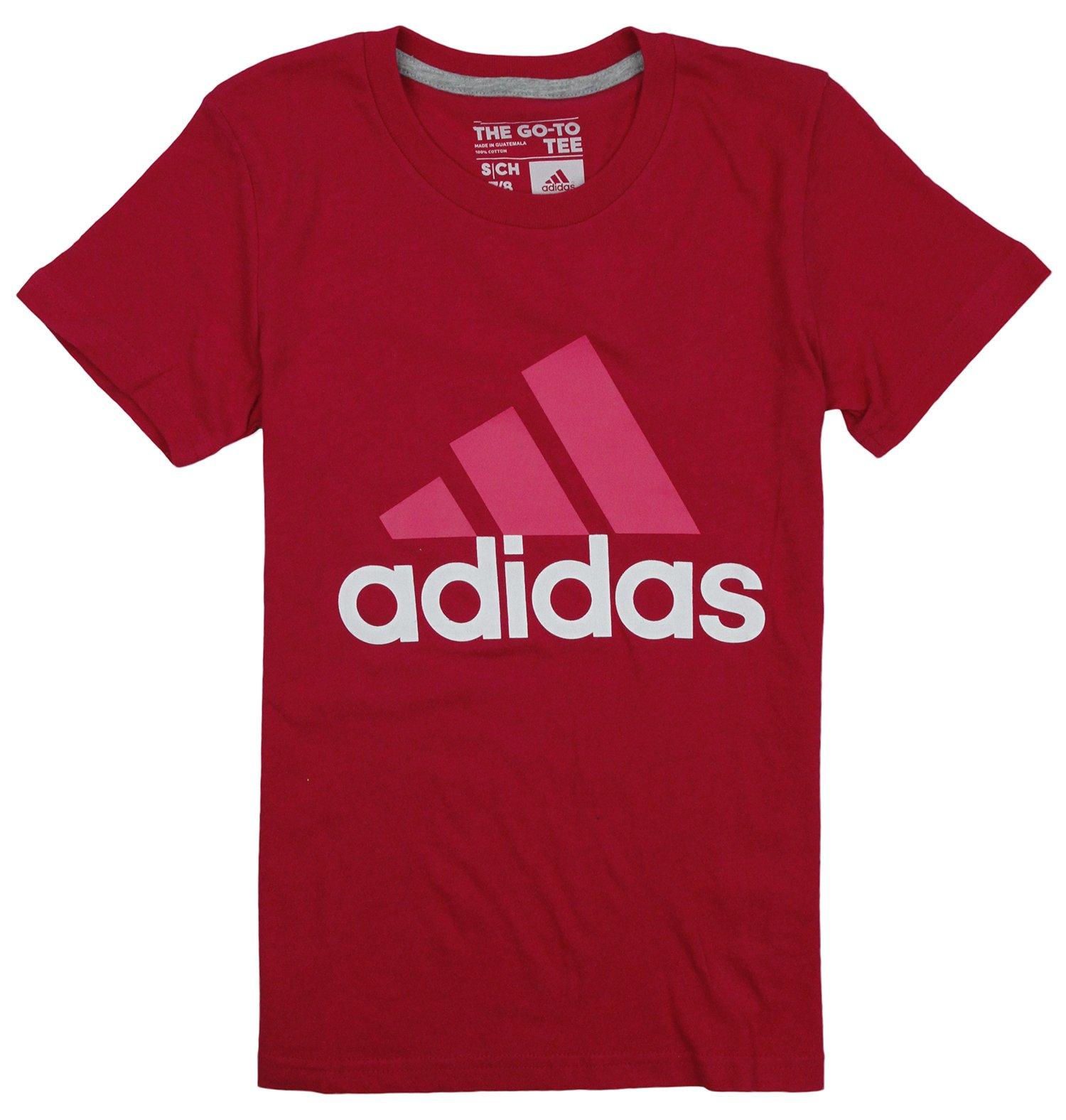 adidas Big Girls Adi Logo Short Sleeve Tee (Medium (10/12), Vivid Berry)