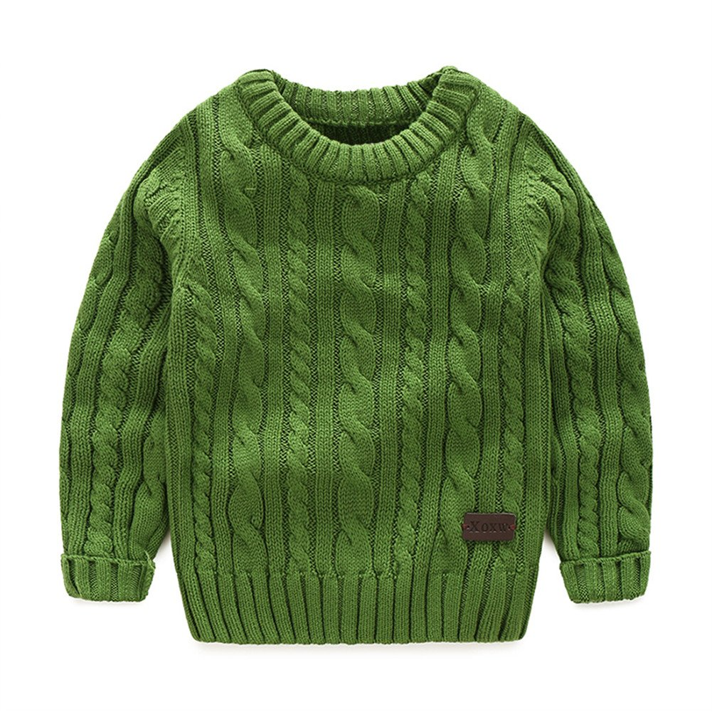 Mud Kingdom Boys' Crewneck Sweater Cotton Cable Knit Pullover Solid Color SS0529