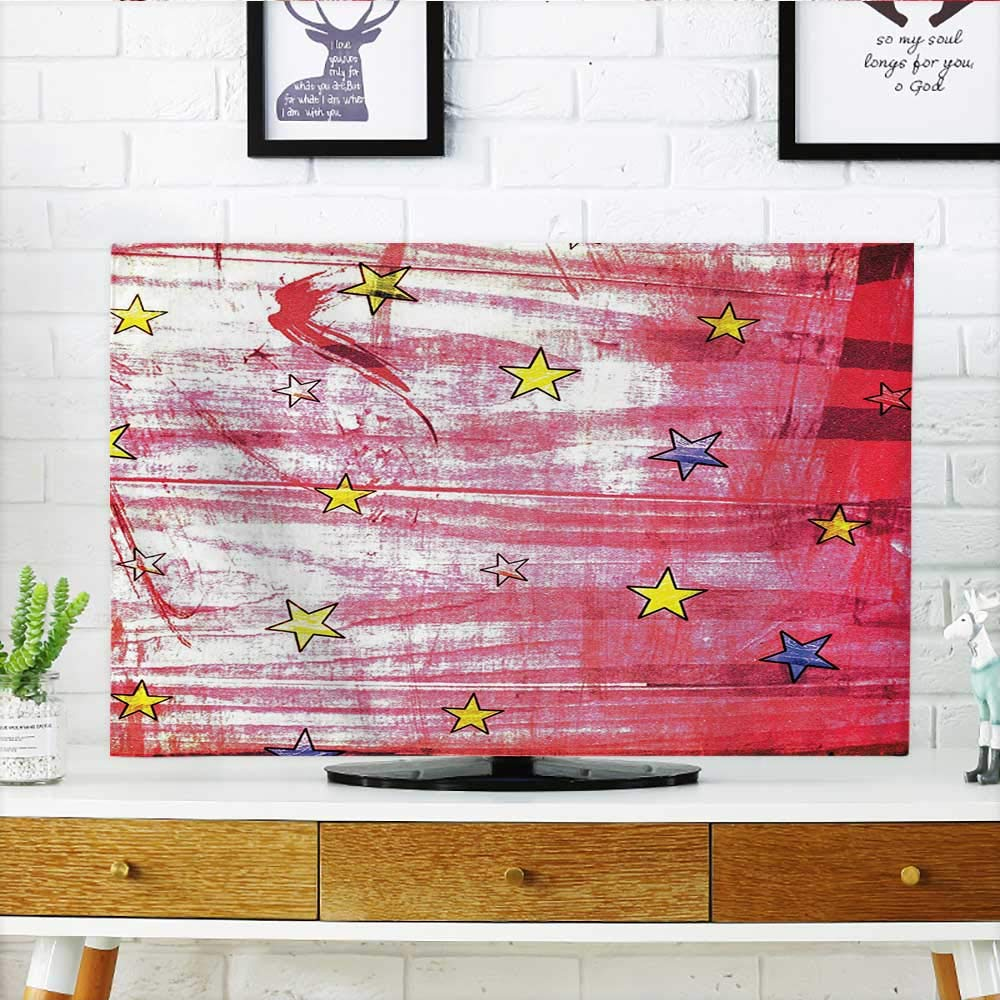 Auraisehome Front Flip Top Little Luminous Stars Over Grunge Retro Style Background Solar Celestial Theme Art Red Front Flip Top W30 x H50 INCH/TV 52'' by Auraisehome